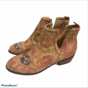 Sbicca Bootie Floral Boho Ankle Boot Size 7.5